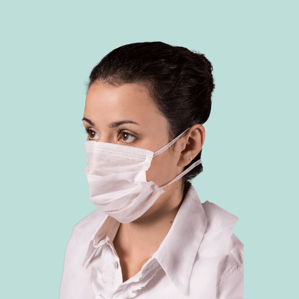 Máscara cirúrgica dupla com elástico inteiriço em TNT descartável